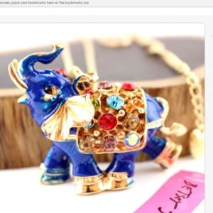 Cute Blue and multicolor Rhinestone Elephant Neckl